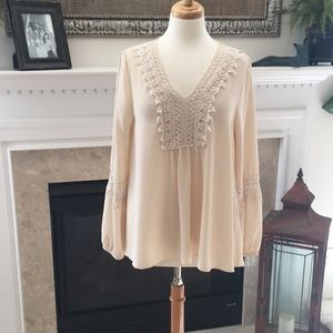 Beautiful Buttons Cream Peasant Top